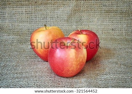 Ripe red apples on a burlap in a rustic style. - stock photo