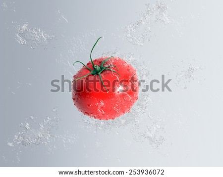 Ripe red fresh tomato falling through water with bubble and splash effect over a graduated grey background in a healthy diet concept - stock photo