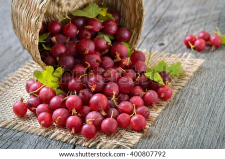 Ripe red gooseberries in  basket on wooden table, close up, selective focus - stock photo