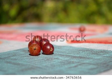 Ripe red gooseberries on table - stock photo