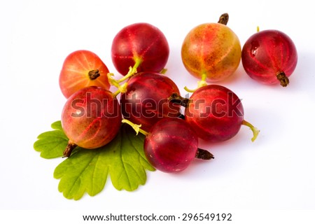 Ripe red  gooseberry with leaf isolated on white background - stock photo