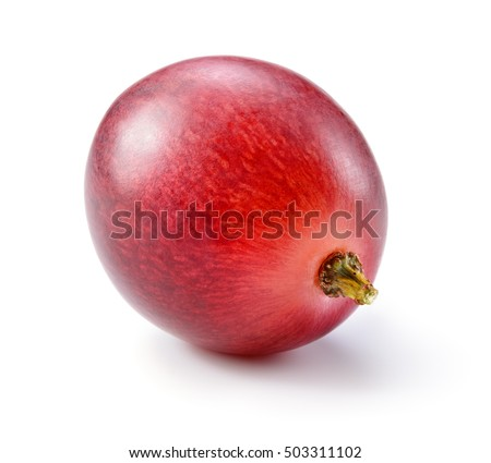 Ripe red grape. One berry isolated on white. Full depth of field.