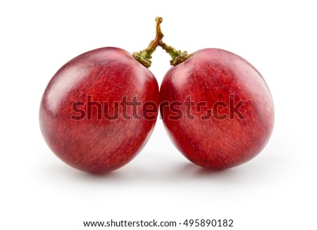 Ripe red grape. Two berries isolated on white.