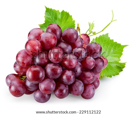 Ripe red grape with leaves isolated on white - stock photo