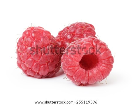 ripe red raspberries isolated on white - stock photo