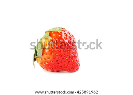 Ripe red strawberry isolated on a white