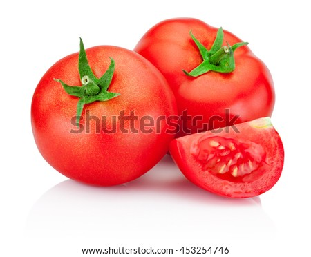 Ripe red tomatoes isolated on white background - stock photo