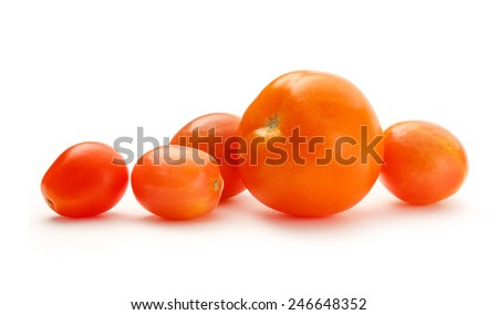 Ripe red tomatoes on white background closeup