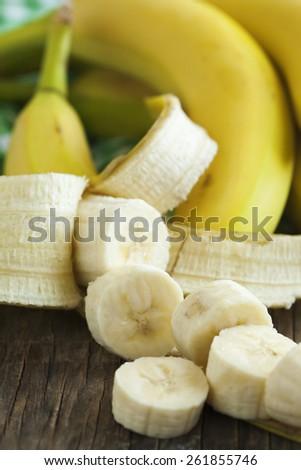 Ripe sliced banana close up - stock photo