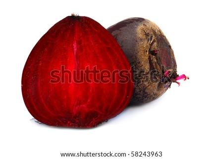 Ripe sliced beet isolated on white background - stock photo