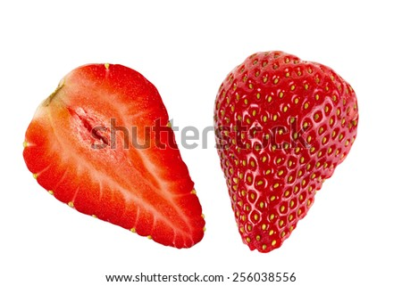 Ripe sliced strawberry fruit on a white background. isolated