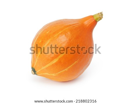 ripe small pumpkin, isolated on white background - stock photo