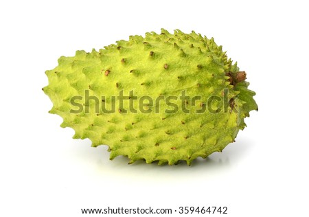 Ripe Soursop or guyabano fruit isolated on white background - stock photo