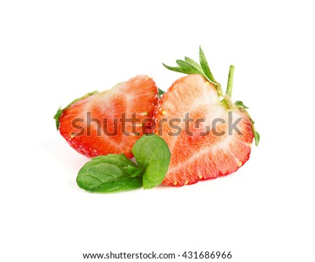 Ripe strawberries and mint isolated on white - stock photo