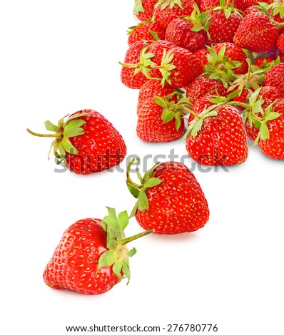 ripe strawberries on a white background - stock photo