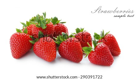 Ripe strawberries on the white background - stock photo