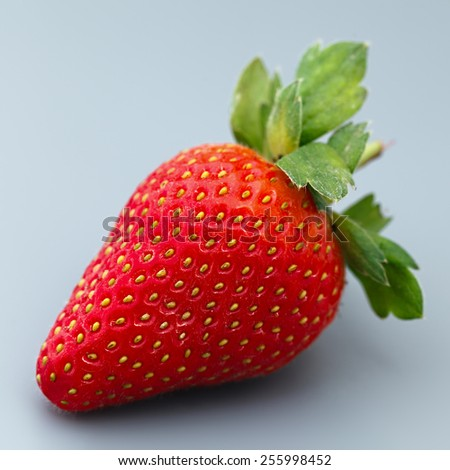 Ripe strawberry fruit on a gray background. - stock photo