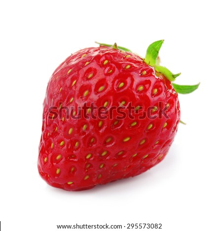 Ripe strawberry isolated on white - stock photo