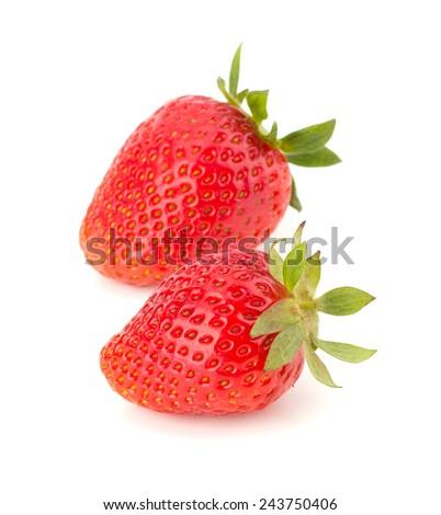 Ripe strawberry isolated on white background - stock photo