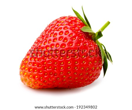 Ripe strawberry with leaves isolated on a white background