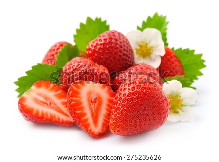 Ripe strawberry with leaves on white background. - stock photo