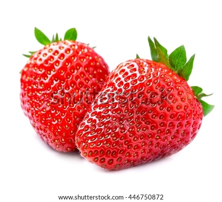 Ripe strawberry with leaves on white backgrounds. - stock photo