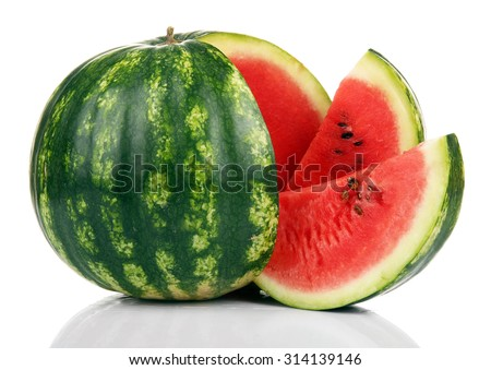 Ripe striped watermelon isolated on white - stock photo