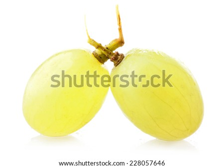 Ripe sultana grapes berry isolated on white background - stock photo