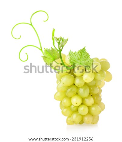 Ripe sultana grapes isolated on white background - stock photo