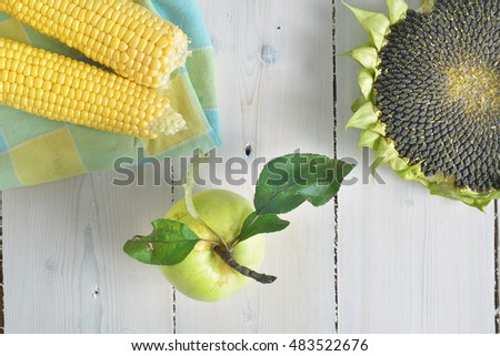 ripe sunflower, corn and yellow apple on a white wooden background