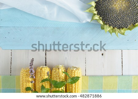 ripe sunflower, corn on a white wooden background