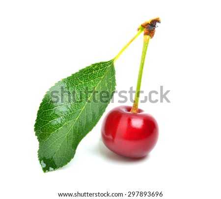 Ripe sweet cherry isolated in white background - stock photo
