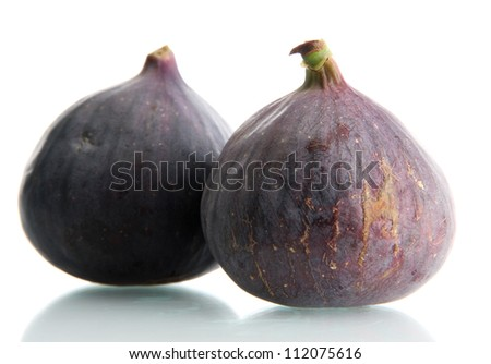 Ripe sweet figs isolated on white - stock photo
