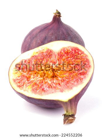 Ripe sweet figs sliced isolated on white background cutout