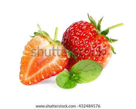 Ripe sweet strawberries and mint - stock photo