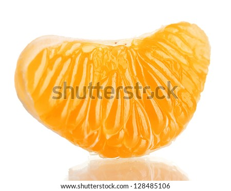 Ripe sweet tangerine  clove, isolated on white - stock photo