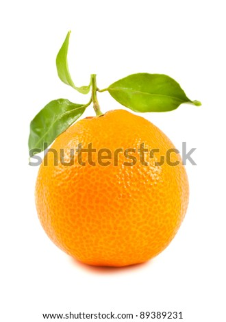 Ripe tangerine isolated on a white background