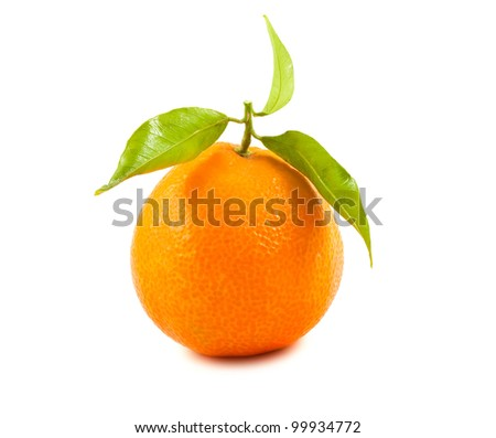 Ripe tangerine with green leaves isolated on white background.