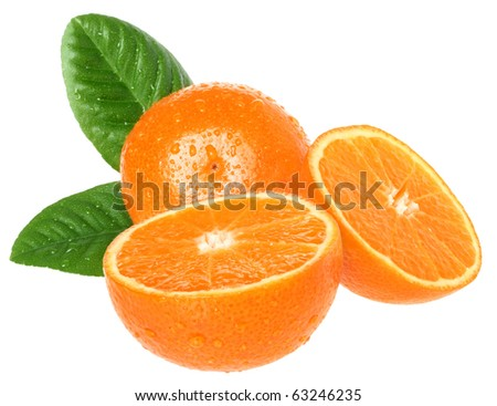 Ripe tangerines on a white background - stock photo