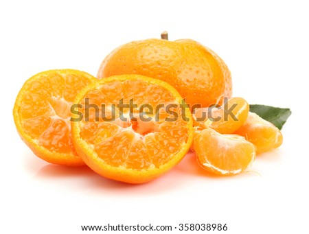 Ripe tasty tangerines with leaves isolated on white
