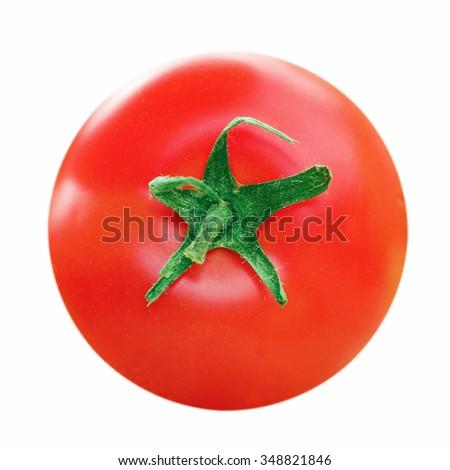 Ripe tomato closeup isolated on white background - stock photo
