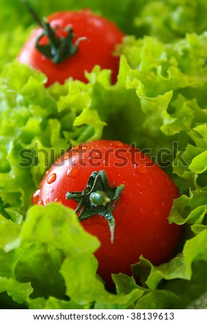Ripe tomato on a bed of lettuce - stock photo