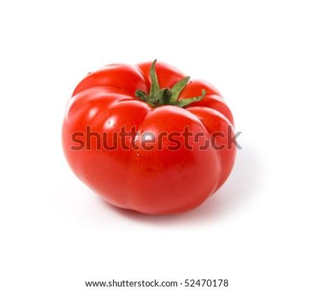 Ripe tomato on a white background. - stock photo