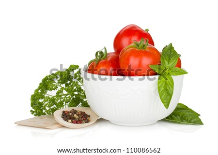Ripe tomatoes, basil, parsley, onion and spices. Isolated on white background - stock photo