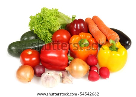 Ripe vegetables against white background. Colorful fresh organic veggies. - stock photo