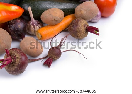 Ripe vegetables isolated on a white background