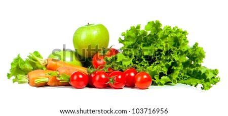 ripe vegetables isolated on white background - stock photo