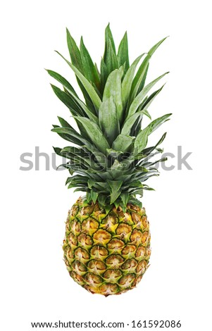 Ripe whole pineapple isolated on white background. Closeup.