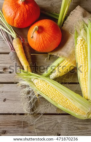 Ripe yellow corn and a pumpkin colored carrots on sackcloth. Wooden background.