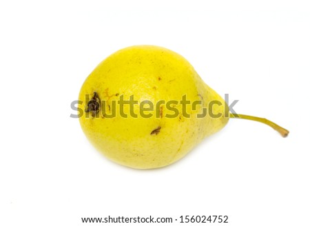 ripe yellow pear on a white background